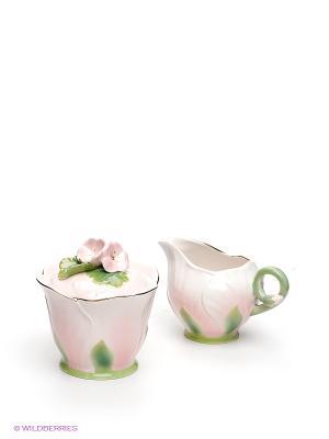 Набор из сахарницы и молочника Герань Pavone. Цвет: бледно-розовый, зеленый