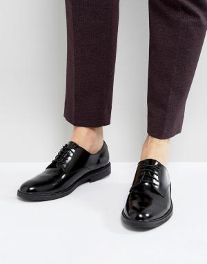 Zign Блестящие кожаные туфли-дерби на шнуровке. Цвет: черный