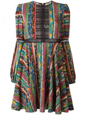 Расклешенное платье в цветочную полоску Philosophy Di Lorenzo Serafini. Цвет: многоцветный
