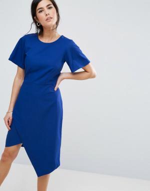 Closet London Платье-футляр с разрезом. Цвет: синий
