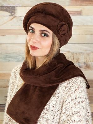 Берет, с шарфом LORICCI. Цвет: коричневый
