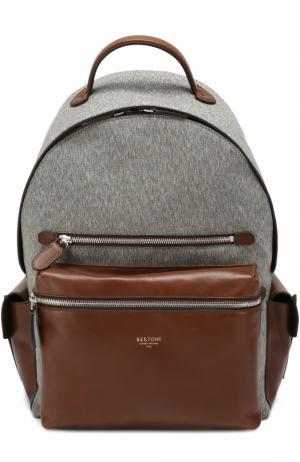 Текстильный рюкзак с отделкой из натуральной кожи Bertoni. Цвет: темно-коричневый