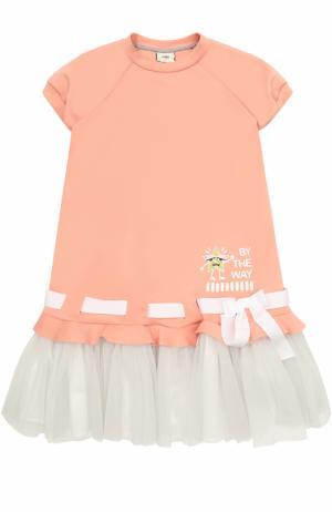 Трикотажное мини-платье с контрастной отделкой и бантом Fendi Roma. Цвет: розовый