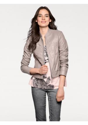 Кожаная куртка LINEA TESINI by Heine. Цвет: розово-сиреневый