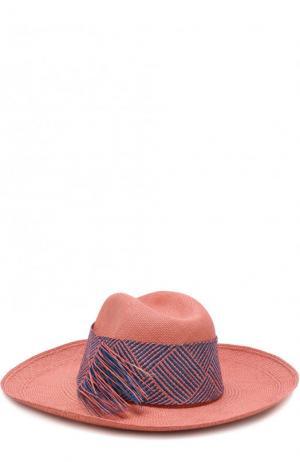 Соломенная шляпа с плетеной лентой Artesano. Цвет: розовый