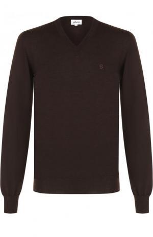 Пуловер из шерсти тонкой вязки Brioni. Цвет: темно-коричневый
