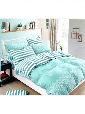 Комплект постельного белья ROMEO AND JULIET. Цвет: бирюзовый, белый