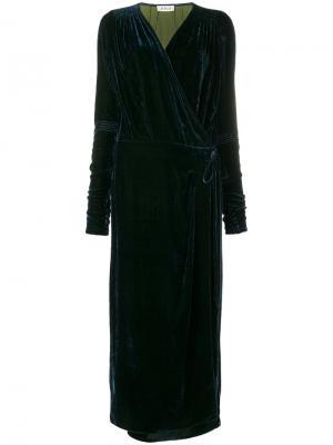 Длинное платье с запахом Attico. Цвет: синий