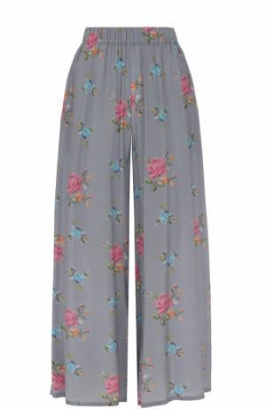 Укороченные шелковые брюки с эластичным поясом Natasha Zinko. Цвет: серый