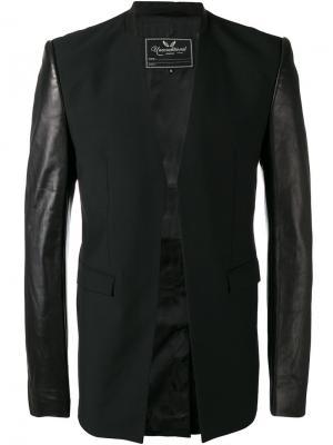 Куртка с кожаными рукавами Unconditional. Цвет: чёрный