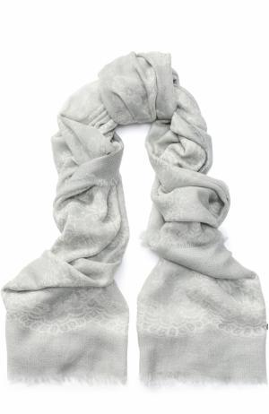 Кашемировый платок с принтом Franco Ferrari. Цвет: светло-серый
