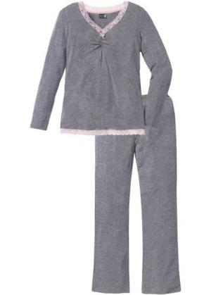 Пижама с расклешенными брюками (серый меланж) bonprix. Цвет: серый меланж