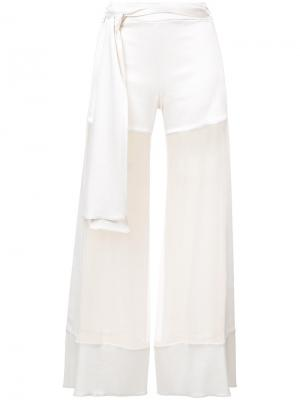 Прозрачные брюки палаццр Haney. Цвет: телесный