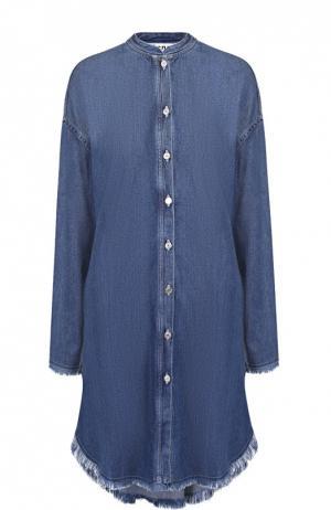 Джинсовое платье свободного кроя с бахромой Acne Studios. Цвет: синий