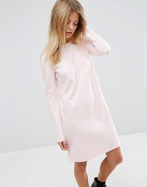 ASOS Цельнокройное платье из трикотажа понте с длинными рукавами. Цвет: розовый