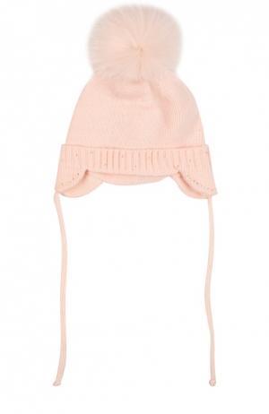 Вязаная шапка с помпоном и стразами Il Trenino. Цвет: розовый