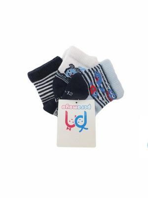 Носки детские, 3 пары PERA MAYA. Цвет: белый, голубой, черный