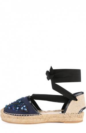 Атласные эспадрильи Adriana с вышивкой Oscar de la Renta. Цвет: темно-синий
