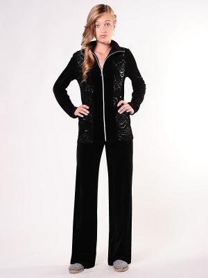 Велюровый костюм Тефия. Цвет: черный, серебристый