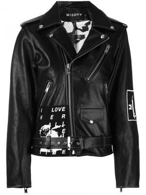 Байкерская куртка с принтом Warszawa Misbhv. Цвет: чёрный