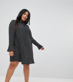 ASOS Curve Платье-рубашка в горошек с длинными рукавами. Цвет: мульти