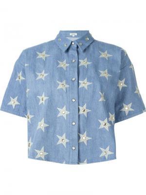 Укороченная джинсовая рубашка Manoush. Цвет: синий