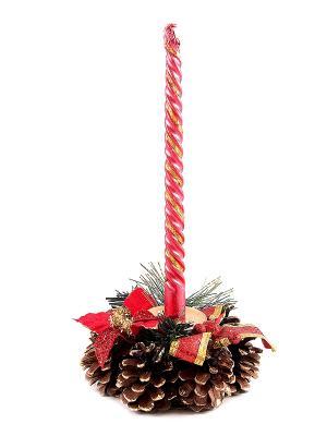 Подсвечник Рождественский на 1 свечу Русские подарки. Цвет: зеленый, красный