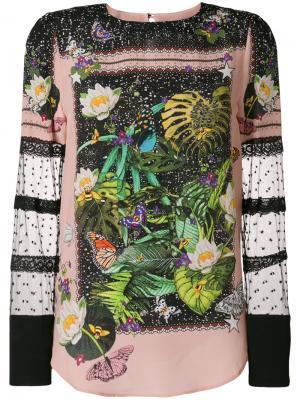 Блузка с цветочной вышивкой Piccione.Piccione. Цвет: розовый и фиолетовый