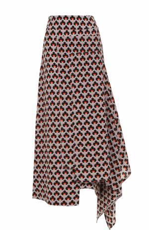 Шелковая юбка-миди асимметричного кроя Marni. Цвет: оранжевый