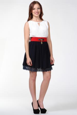 Платье c ремнем Palmetto. Цвет: белый, синий