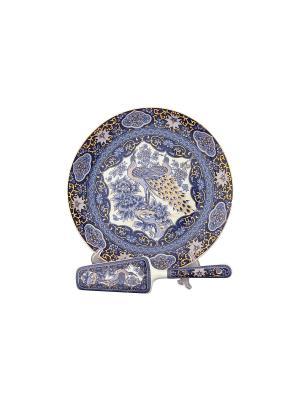 Подставка под торт Павлин синий с лопаткой Elan Gallery. Цвет: синий, белый