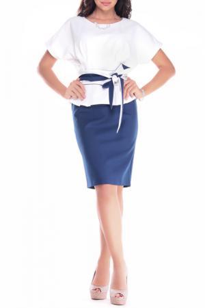 Платье REBECCA TATTI. Цвет: молочный, синий