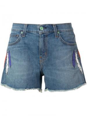 Embroidered feather denim shorts Sandrine Rose. Цвет: синий