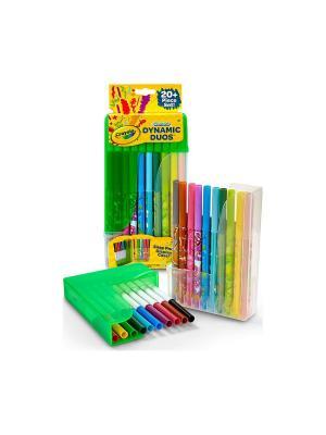 Парные фломастеры в пластиковой подставке, 20 штук Crayola. Цвет: зеленый