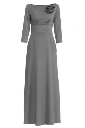 Платье из шелка с брошью 156706 Charisma. Цвет: серый