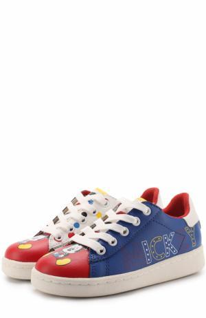 Кожаные кеды с принтом на шнуровке MOA. Цвет: разноцветный