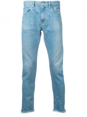 Укороченные джинсы с необработанными краями monkey time. Цвет: синий