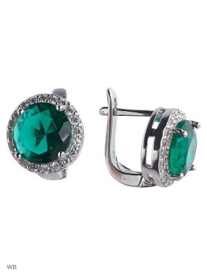 Серьги ACCENT jewelry. Цвет: темно-зеленый