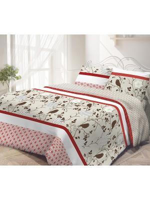 Комплект постельного белья, Летний сад Волшебная ночь. Цвет: коричневый, красный