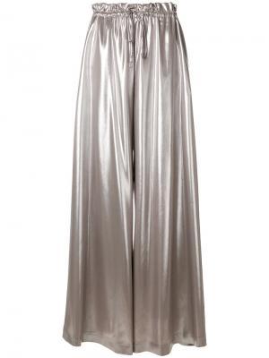Широкие брюки со шнурком Sara Battaglia. Цвет: металлический