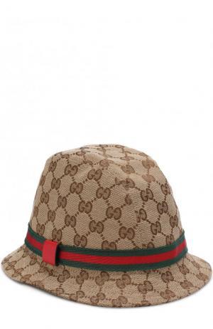 Шляпа с принтом Gucci. Цвет: коричневый