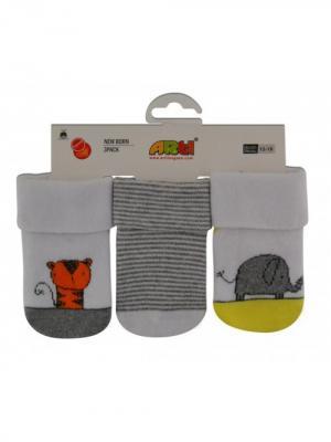 Носки махровые, 3 шт. ARTI. Цвет: светло-серый, желтый, белый