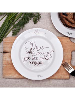 Тарелка 24 см Дом-это место... (Л.Н.Толстой) Счастье в мелочах. Цвет: белый