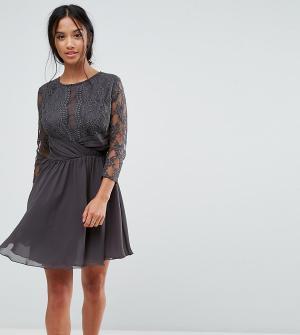 Elise Ryan Petite Платье миди с рукавами 3/4, кружевом и сборками на талии Pe. Цвет: серый