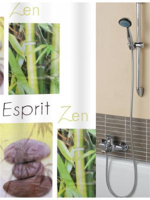 Штора для ванной комнаты с крючками 190*200 см.(зеленый) PATRICIA. Цвет: зеленый