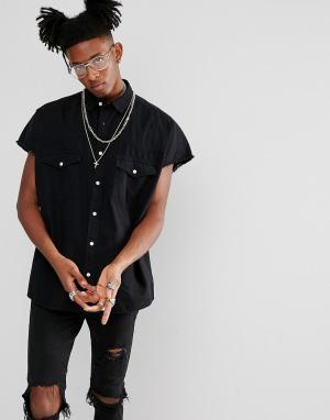 ASOS Черная джинсовая оверсайз-рубашка в стиле вестерн. Цвет: черный
