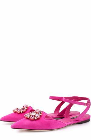 Замшевые балетки Bellucci с брошью Dolce & Gabbana. Цвет: фуксия
