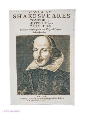 Обложка для паспорта Шекспир Mitya Veselkov. Цвет: белый, серо-коричневый
