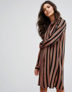 Pieces Платье-рубашка в полоску с длинными рукавами Libby. Цвет: коричневый