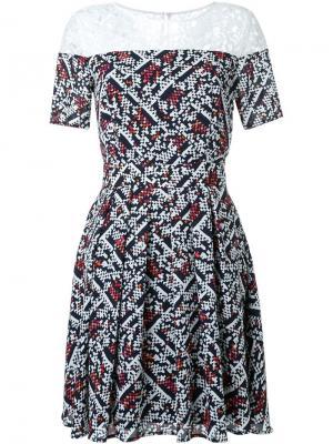 Расклешенное платье с кружевной вставкой Loveless. Цвет: синий
